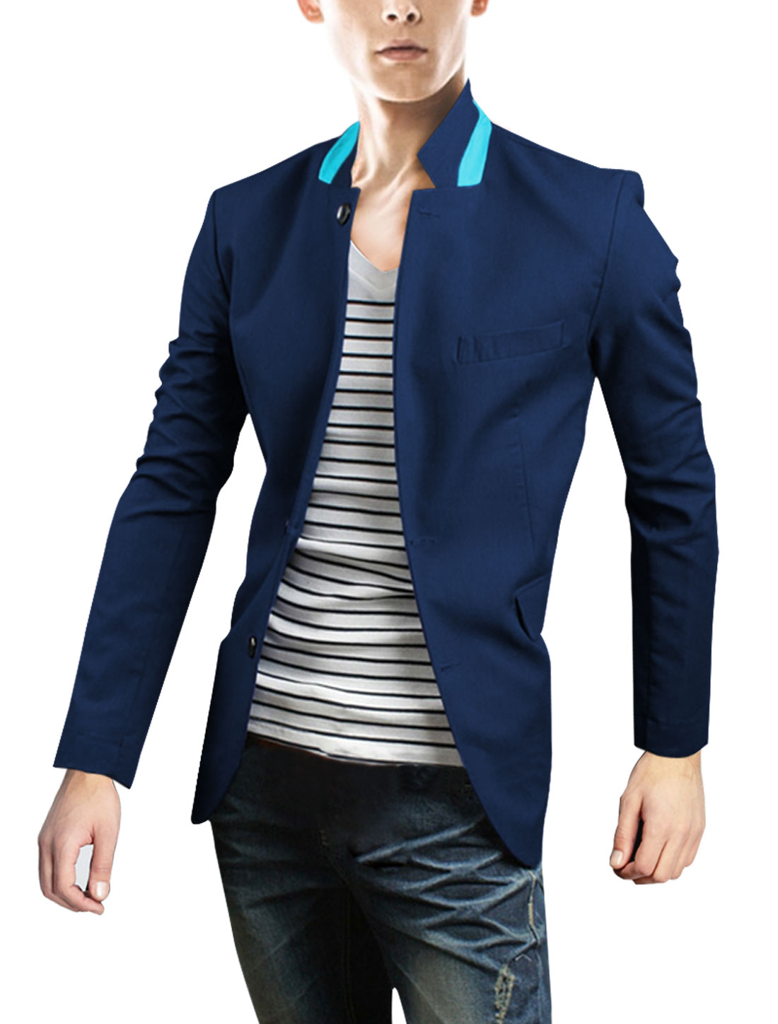 Men Button Down Pockets Front Blazer Royal Blue M