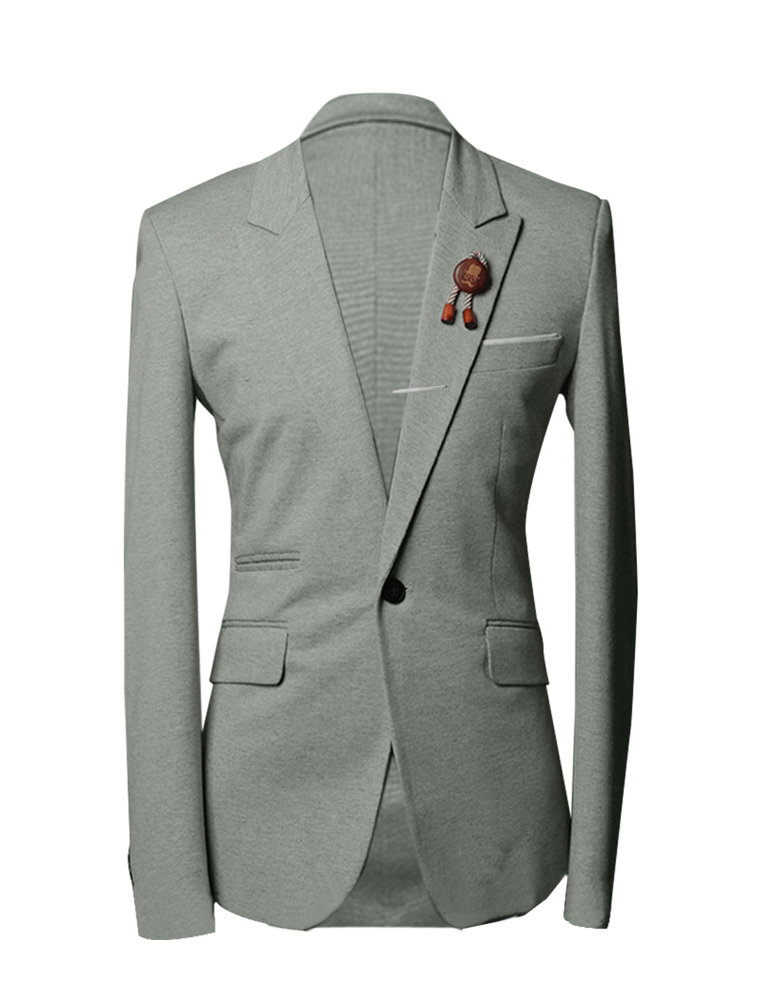 M Light Grey Patch Pockets Button Front Notched Lapel Blazer for Men
