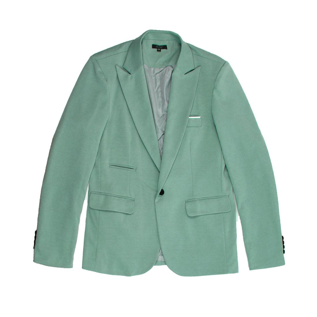 Light Blue M Long Sleeve Patch Flap Pocket Slim Fit Design Men Blazer