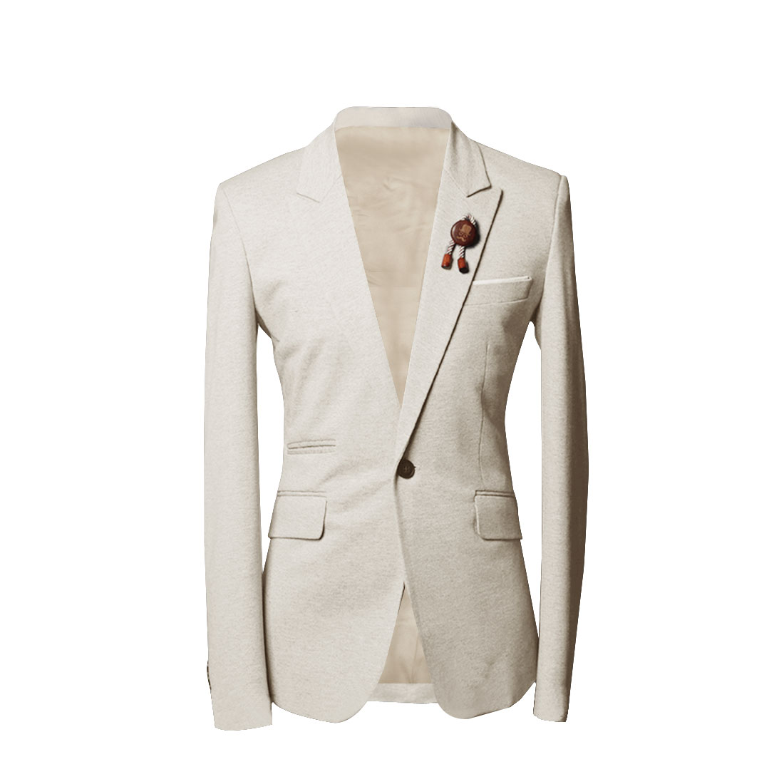 Men Beige M Notched Lapel Style Skinny Fit Chest Pocket Casual Blazer