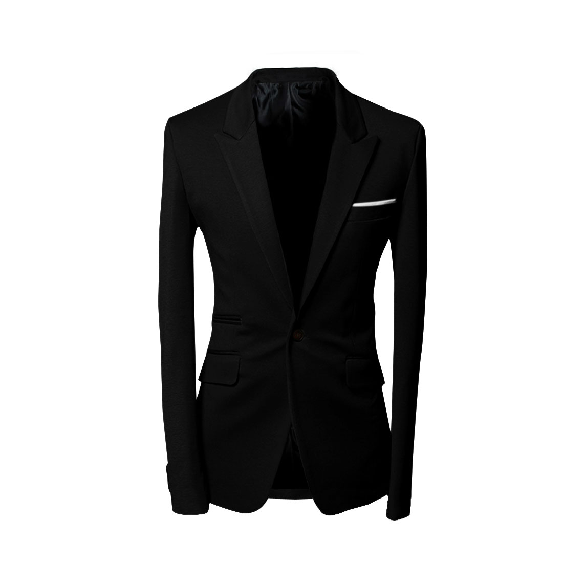 Men M Black Long Sleeve Design Slim Fit Notched Lapel Button Front Blazer