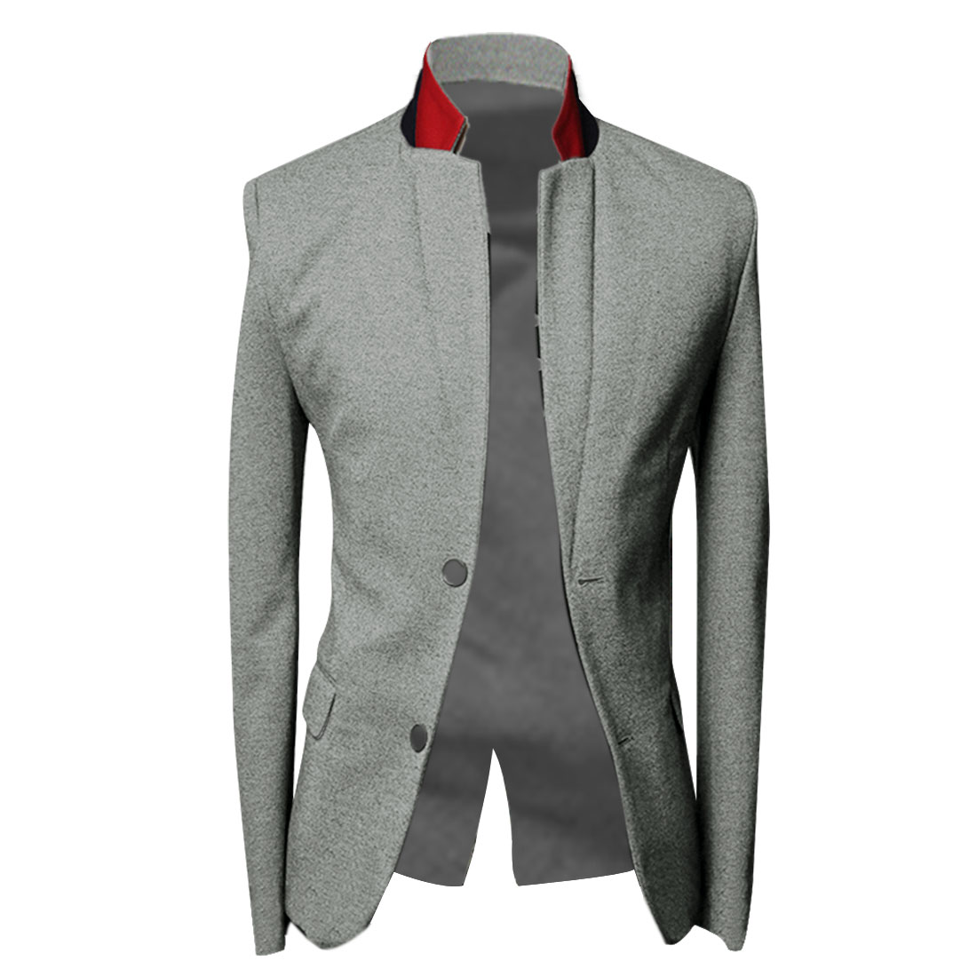 Men M Light Grey Long Sleeve Design Stand Collar Slim Fit Casual Blazer