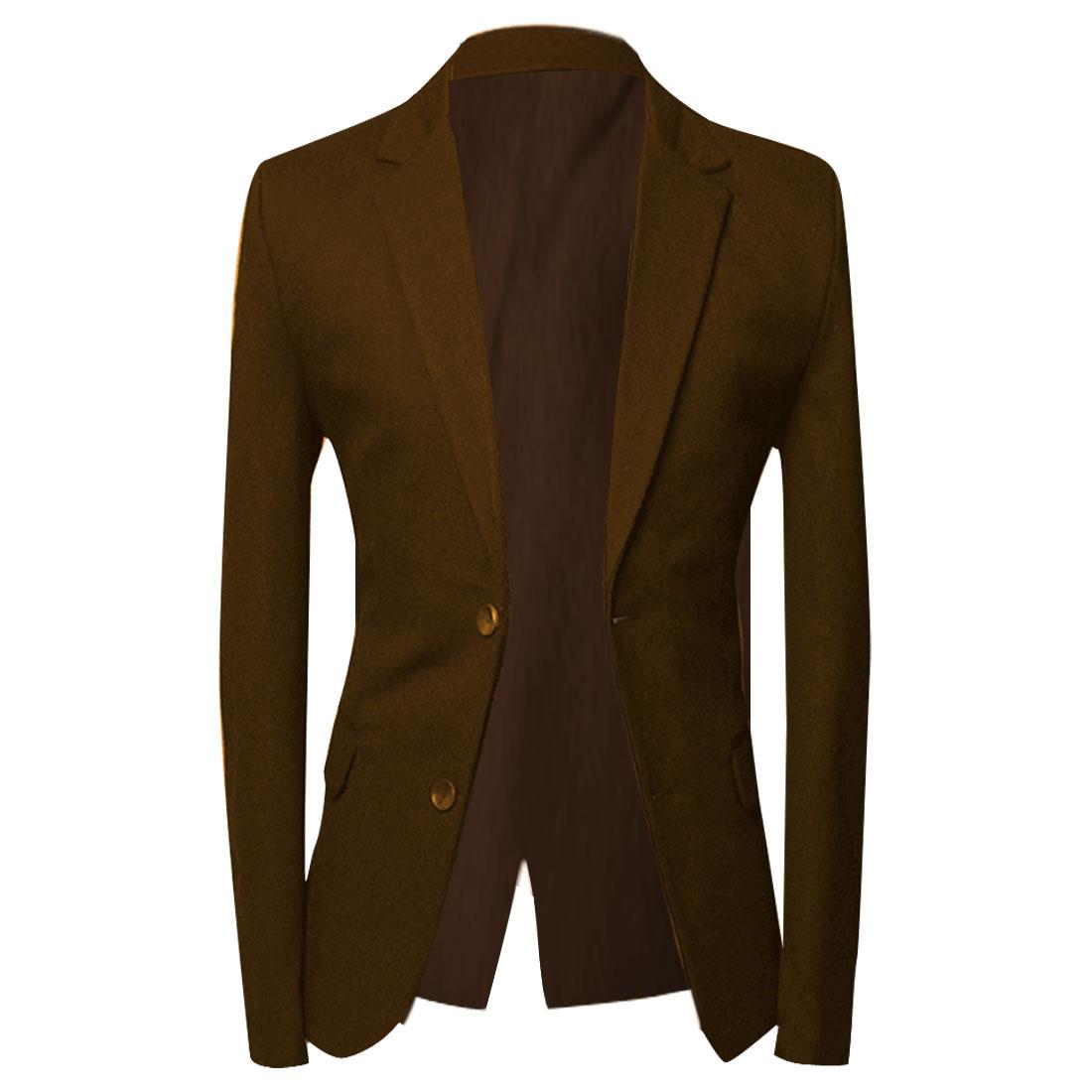 M Brown Button Closure Flap Pockets Slim Fit Design Stylish Men Blazer