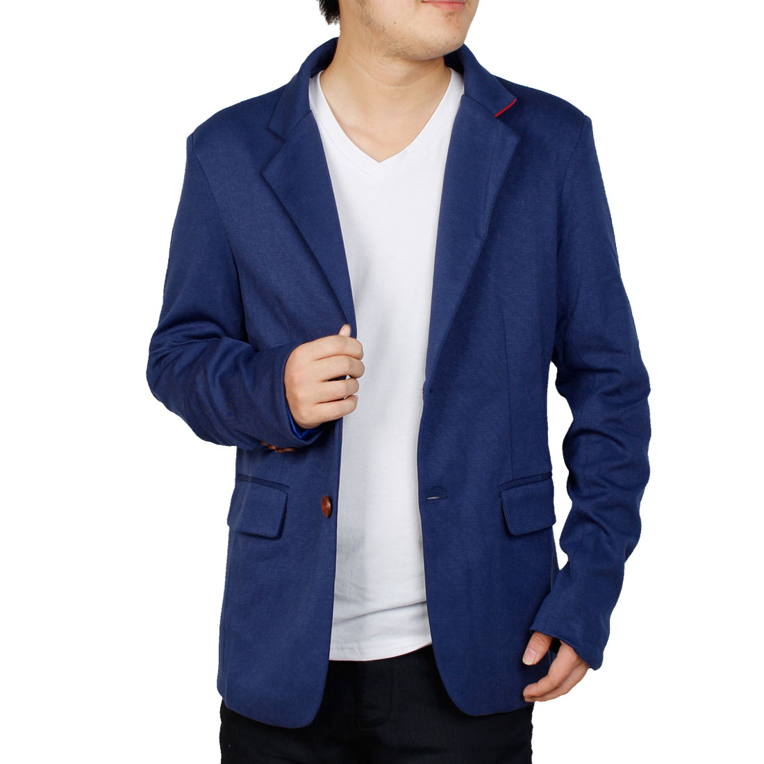 Blue M Front Pockets Stand Collar Front Button Closure Blazer for Men