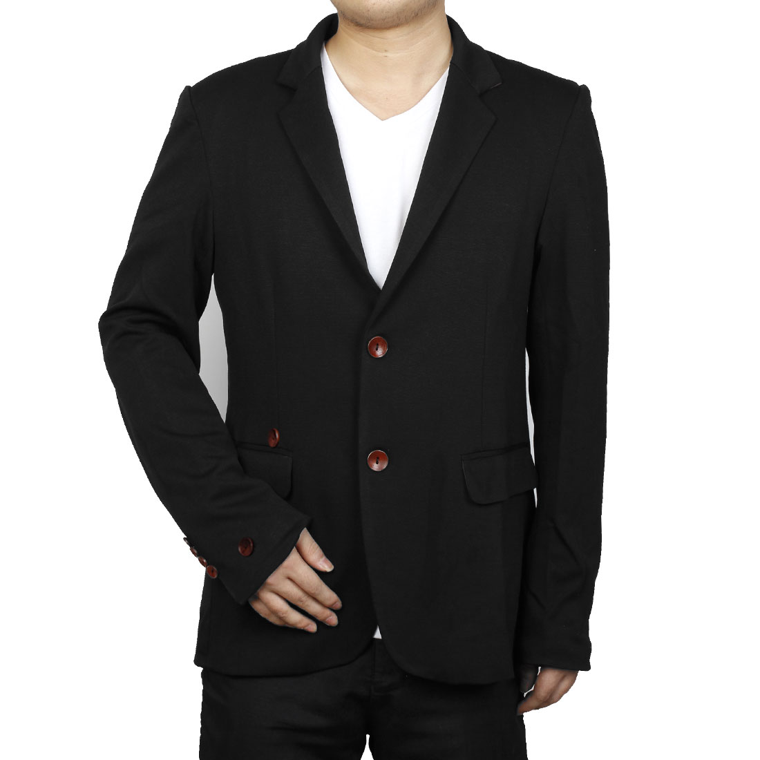 Men M Black Skinny Fit Patch Pockets Button Front Style Fashion Blazer