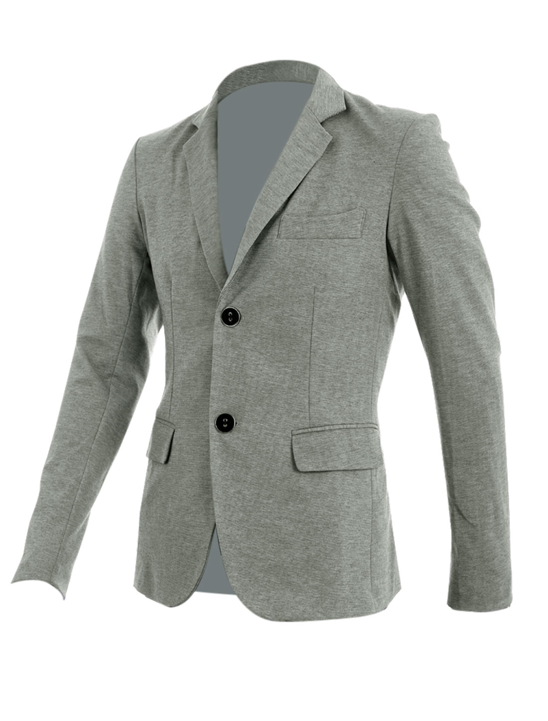 Grey M Slim Fit Style Patch Pockets Chest Pocket Fashion Men Blazer