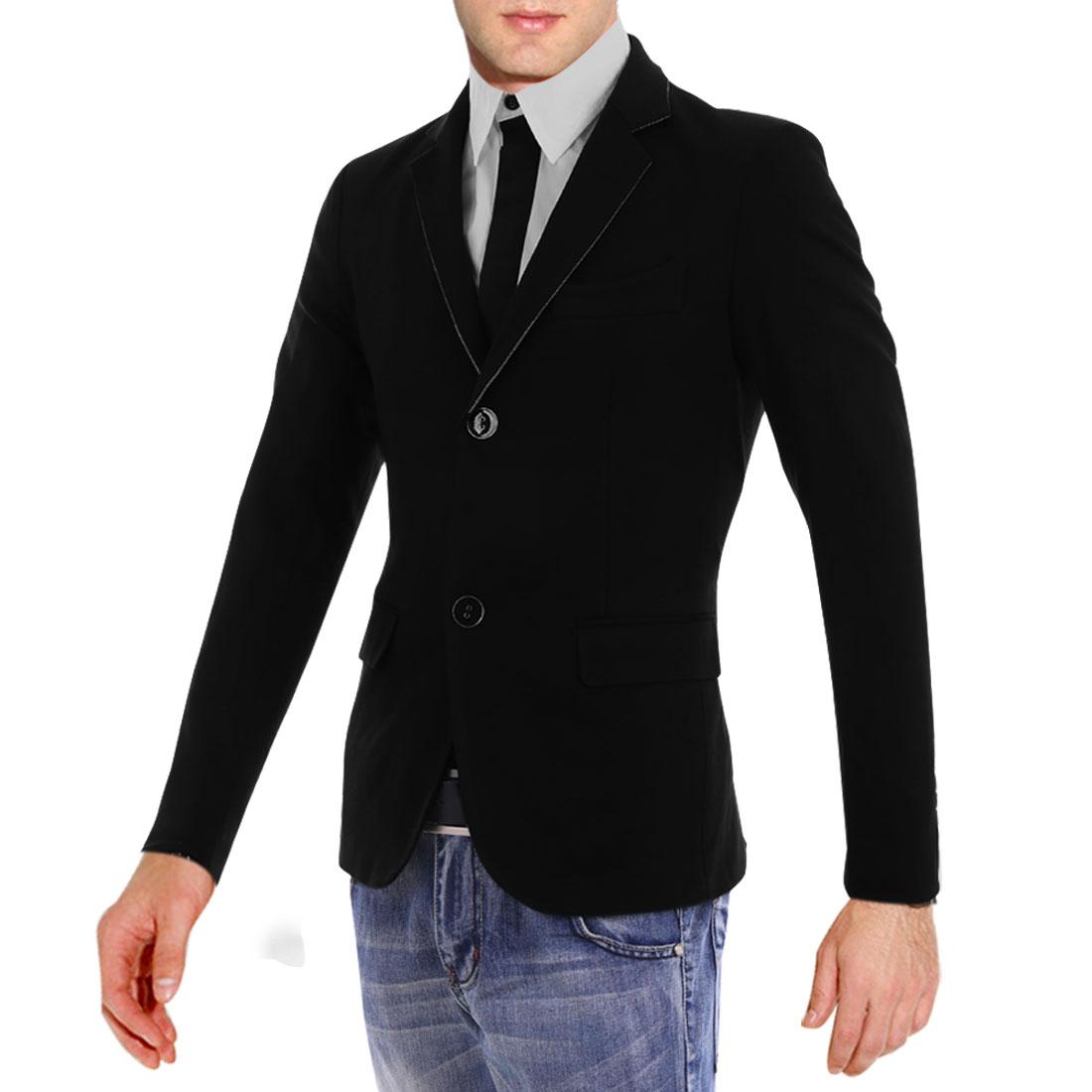 Men M Black Long Sleeve Design Stand Collar Chest Pocket Slim Fit Blazer