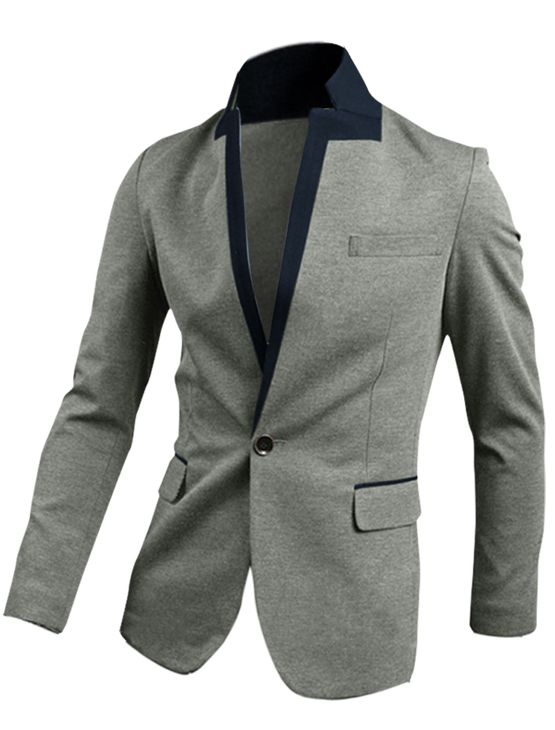 Men M Grey Long Sleeve Design Stand Collar Slim Fit Button Front Blazer