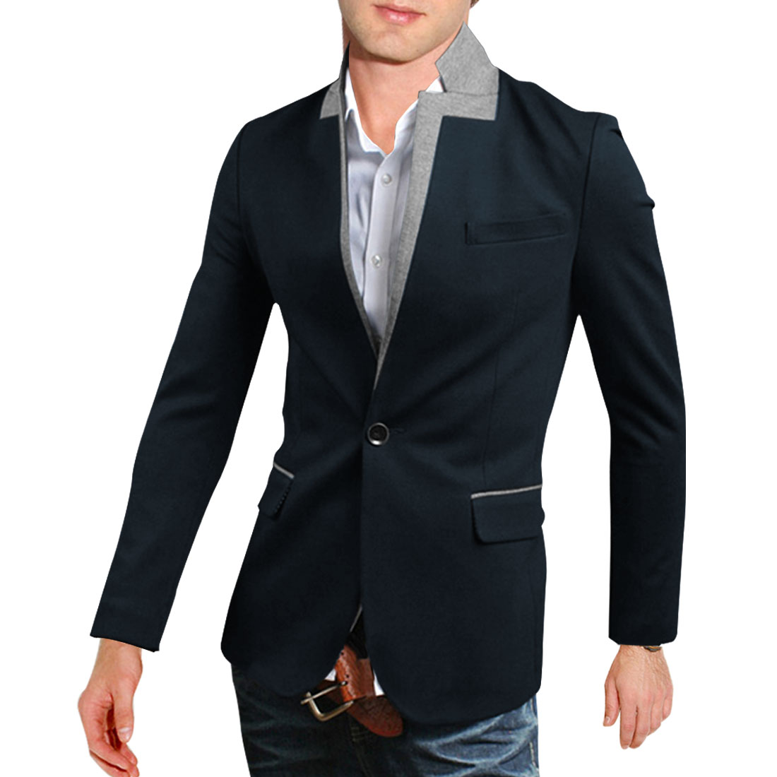 M Navy Blue Slim Fit Two Tone Front Pockets Color Block Men Casual Blazer
