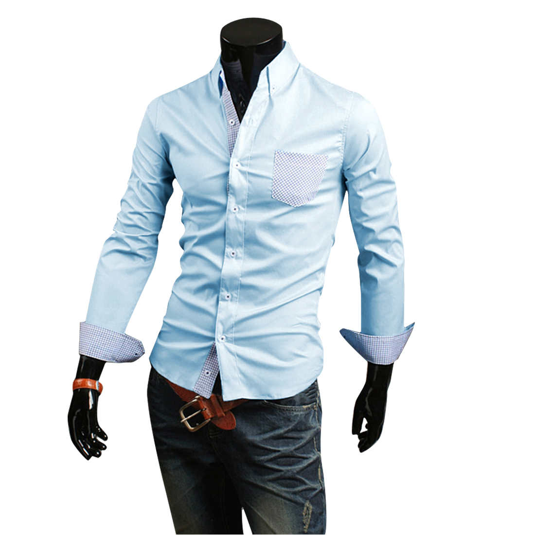Men's Point Collar Contrast Color Stylish Long Sleeves Light Blue Shirt M