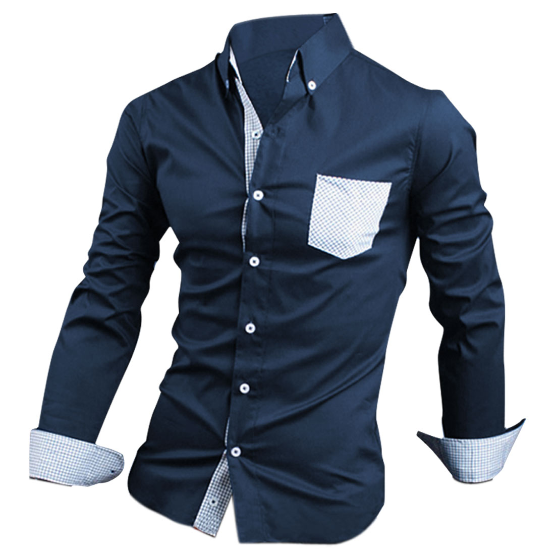 Men's Point Collar Patchwork Pockets Long Sleeves Dark Blue Shirt M