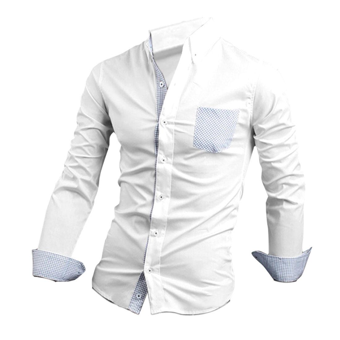 Men's Point Collar Single Breasted Panel Design White M Shirt
