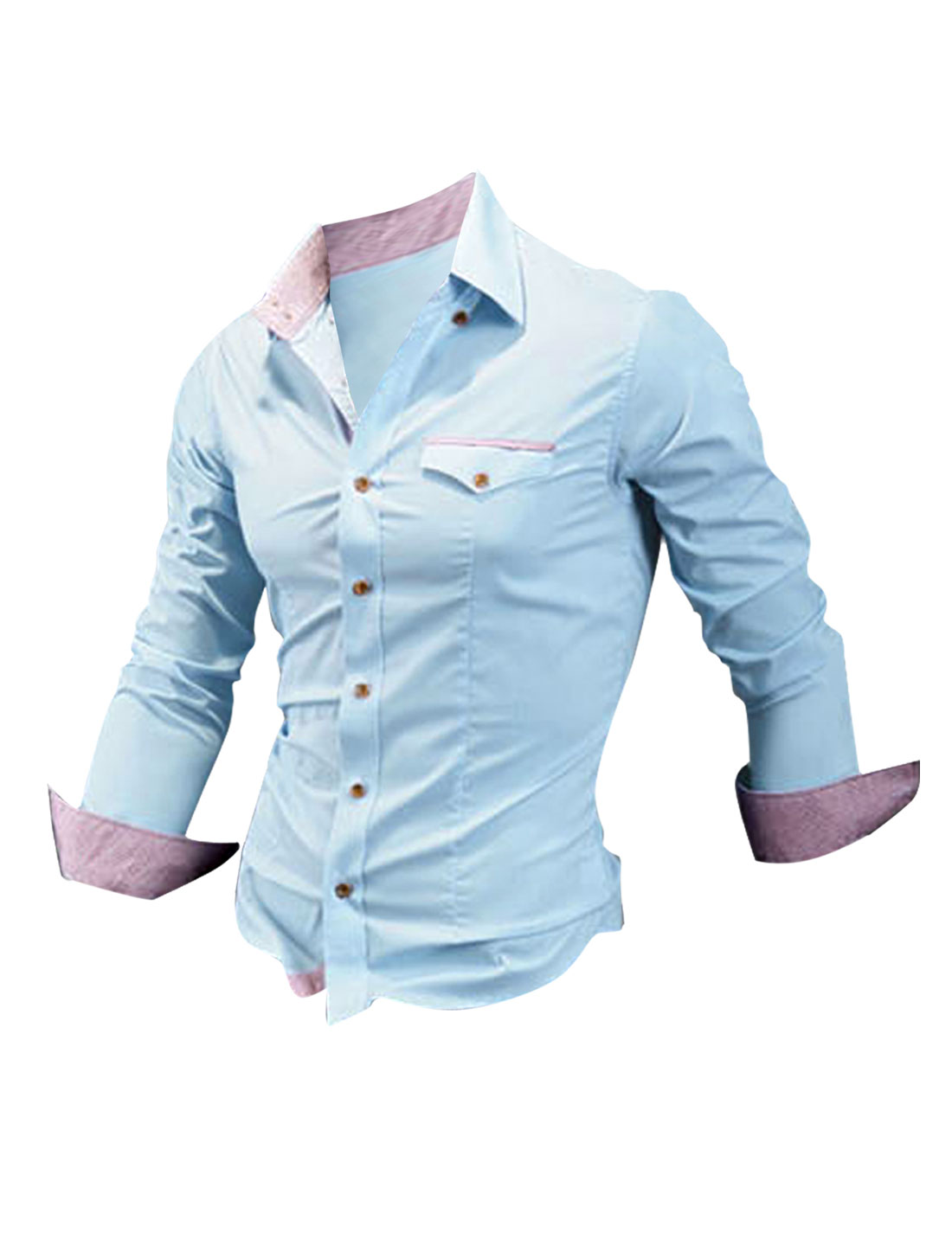 Men Button Up Plaids Decor Pocket Shirt Baby Blue M