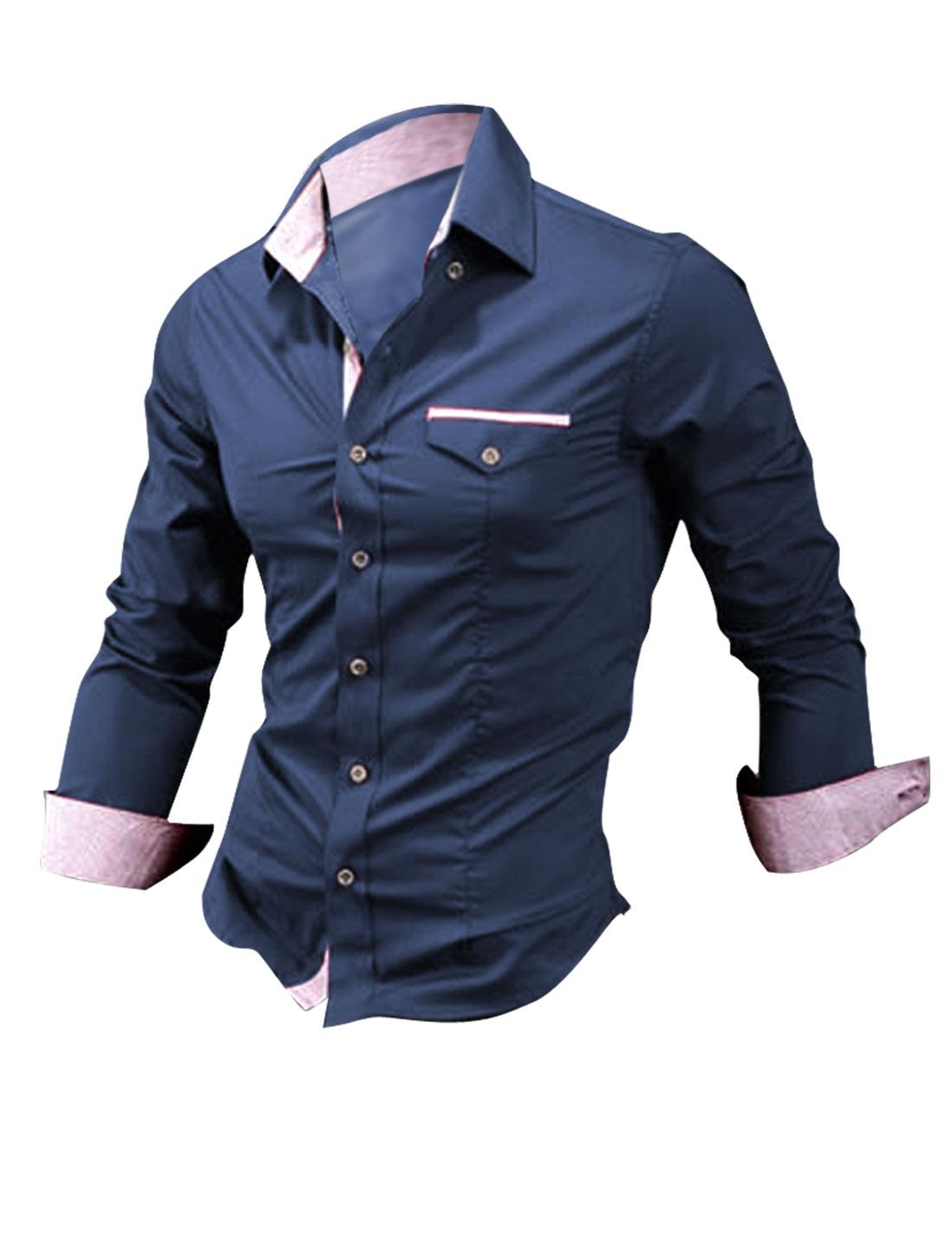 Men Long Sleeve Autumn Winter Shirt Navy Blue M
