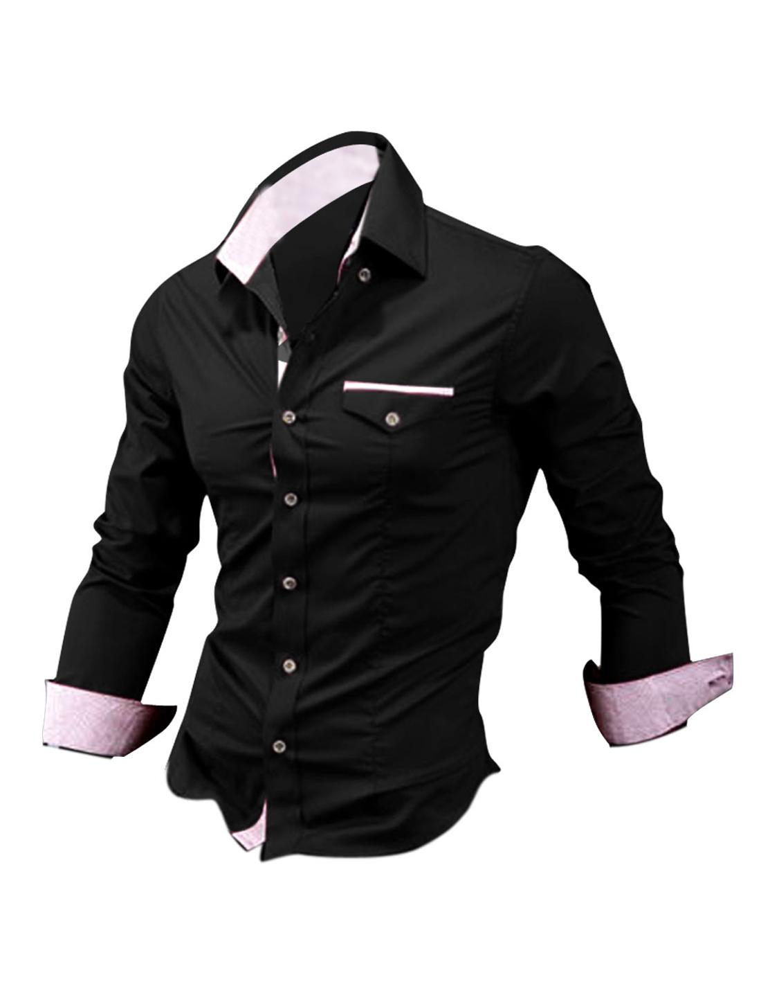 Men Button Closure Plaids Detail Winter Shirt Black M
