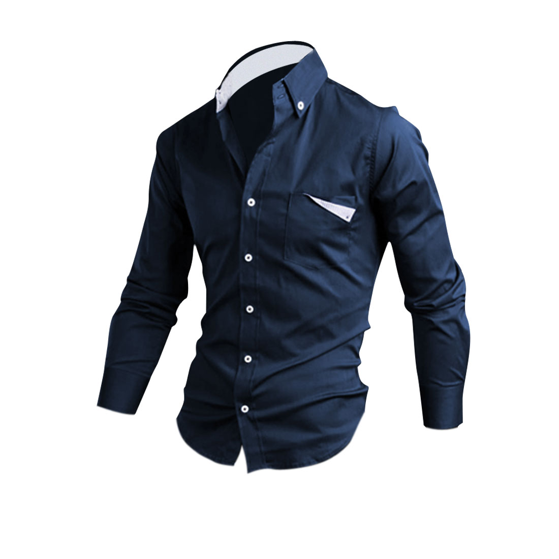 Men Point Collar Chest Pocket Fashion Shirt Dark Blue M