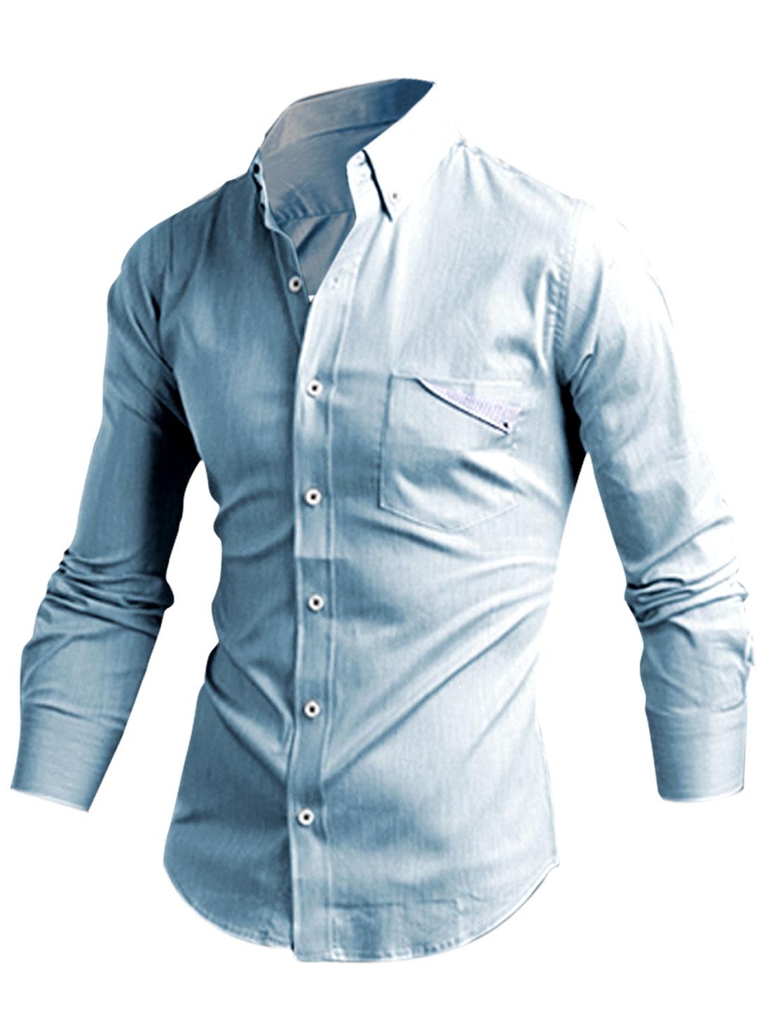 Men Long Sleeve Round Hem Stylish Shirt Baby Blue M