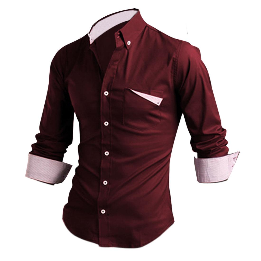 Men Single Breasted Winter Wearing NEWS Shirt Burgundy M