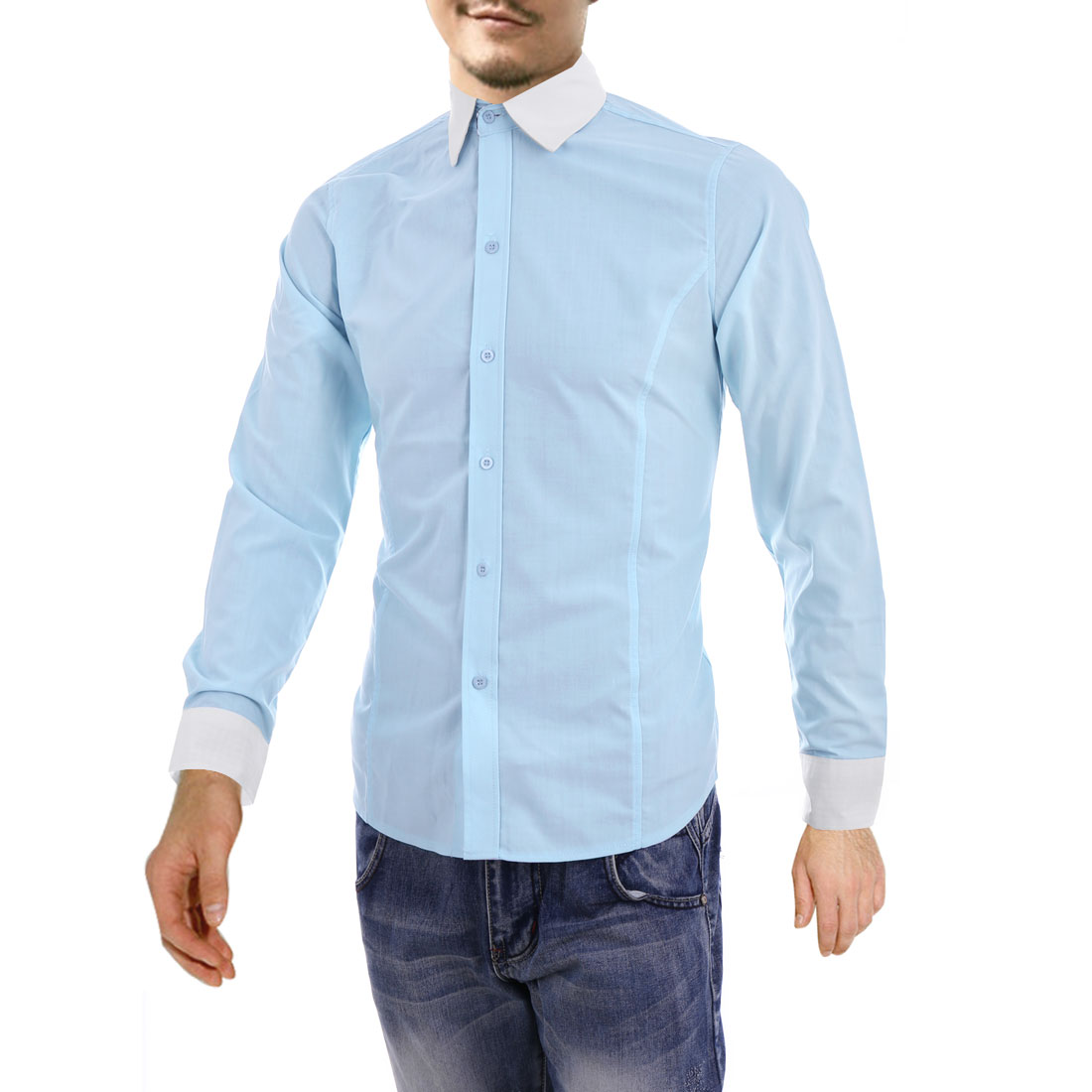 Men Point Collar Round Hem Fashion Shirt Baby Blue M