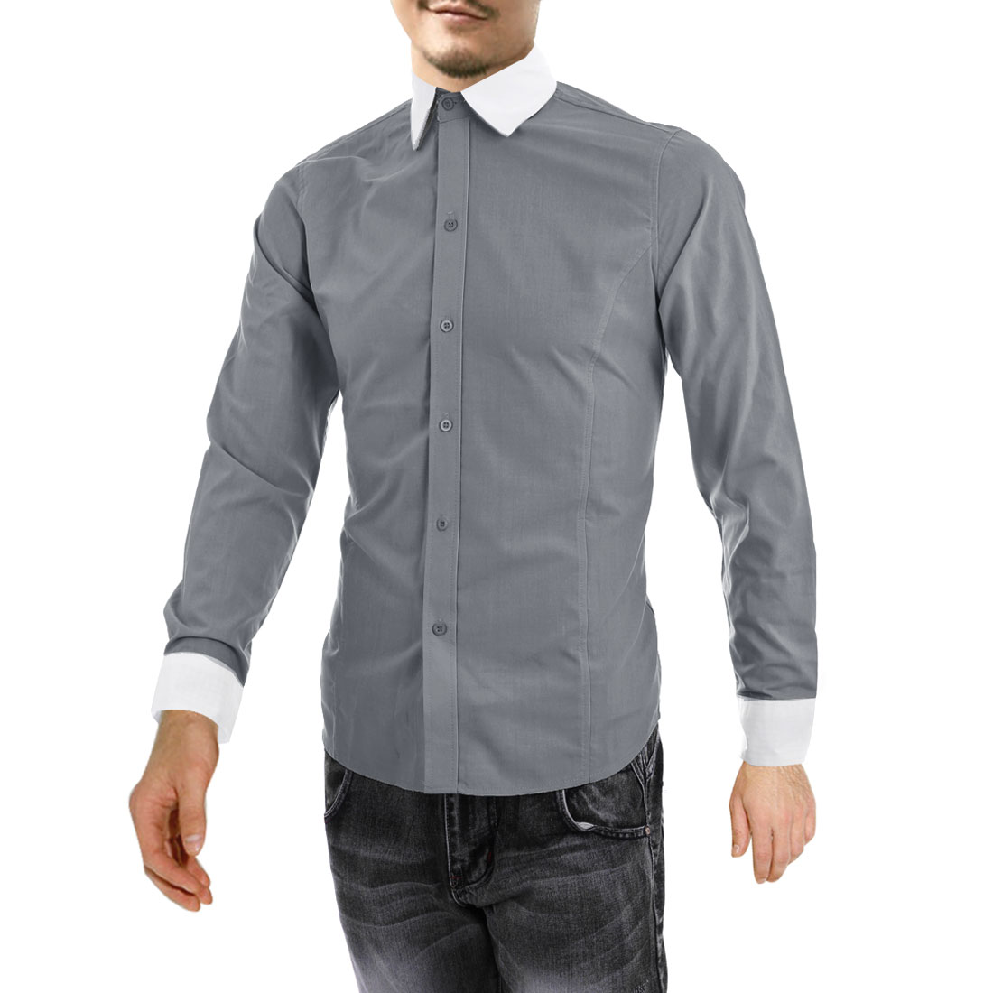 Men Long Sleeve Plaids Decor Casual Shirt Gray M