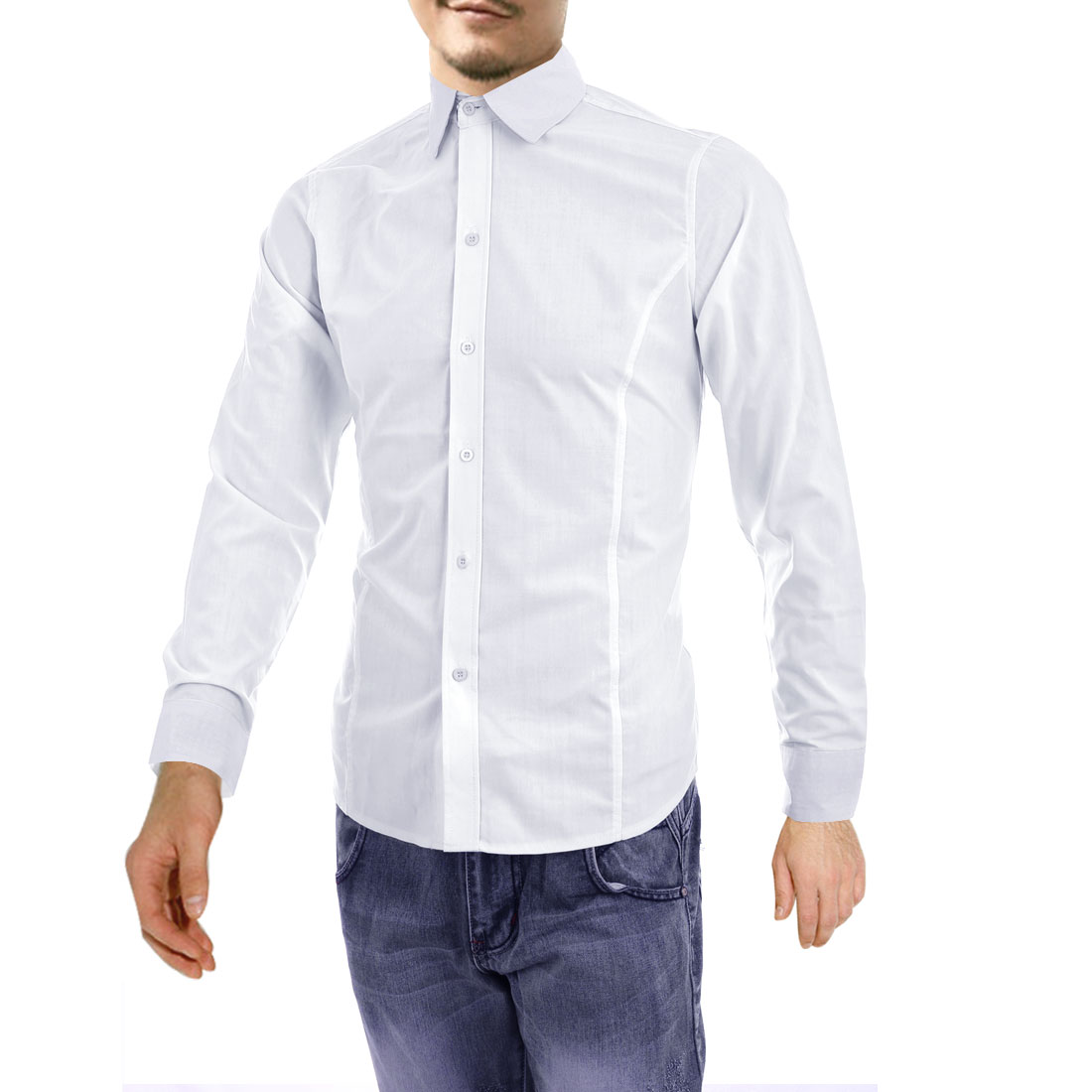 Men Button Closure Splice Collar Casual Shirt White M