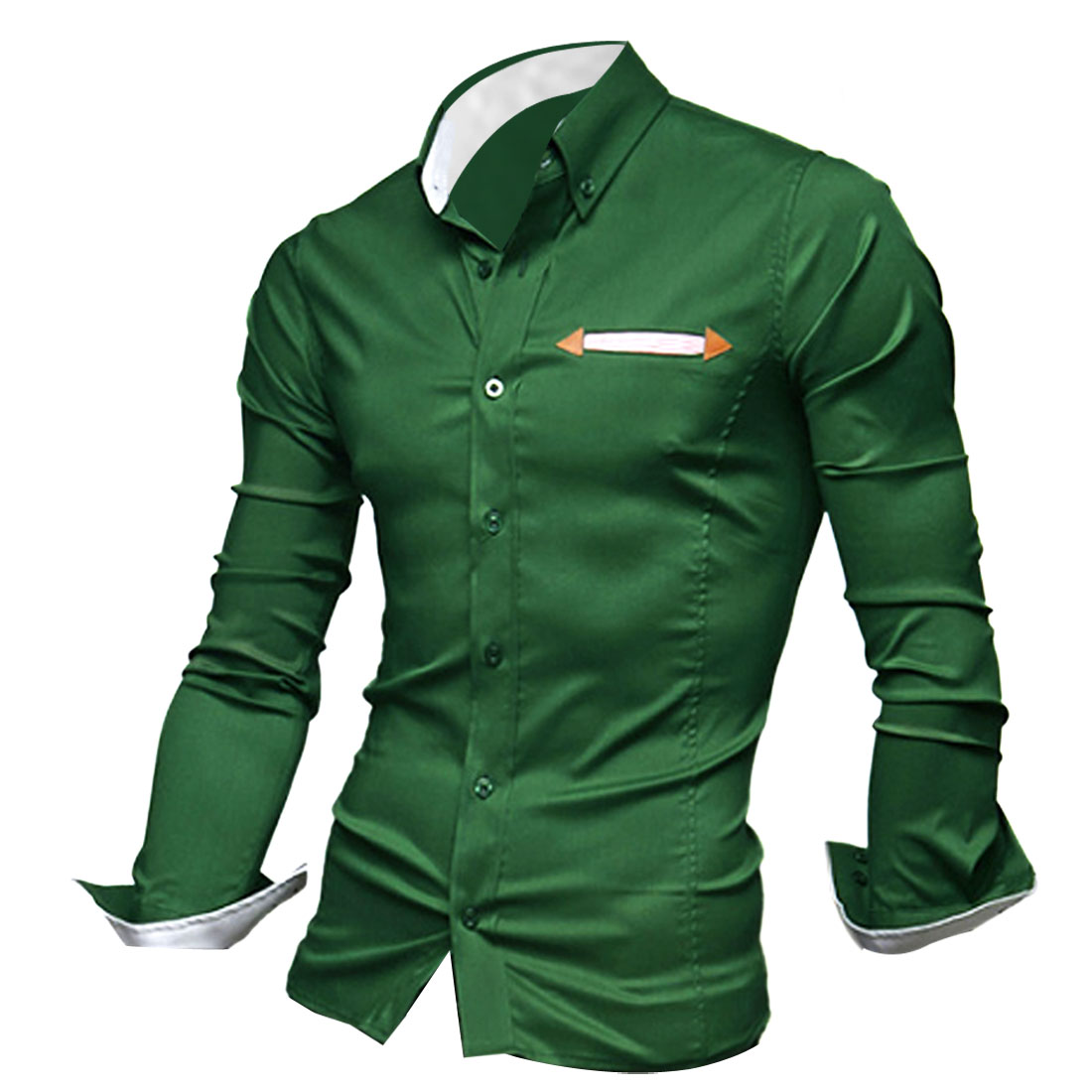 M Green Slim Fit Button Front Long Sleeve Design Men Stylish Top Shirt