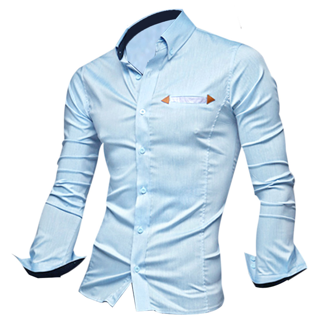 Men M Light Blue Point Collar Long Sleeve Skinny Fit Fashionable Shirt