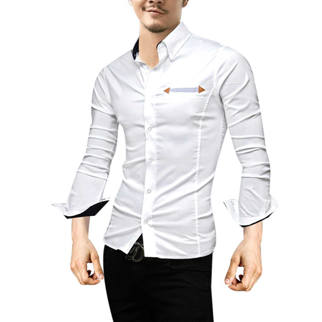 Men White M Long Sleeve Design Point Collar Slim Fit Casual Top Shirt