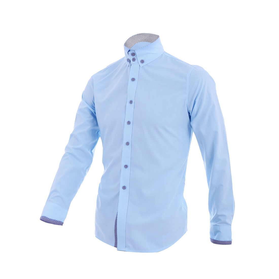 Men Button Down Long Sleeve Casual Shirt Baby Blue M