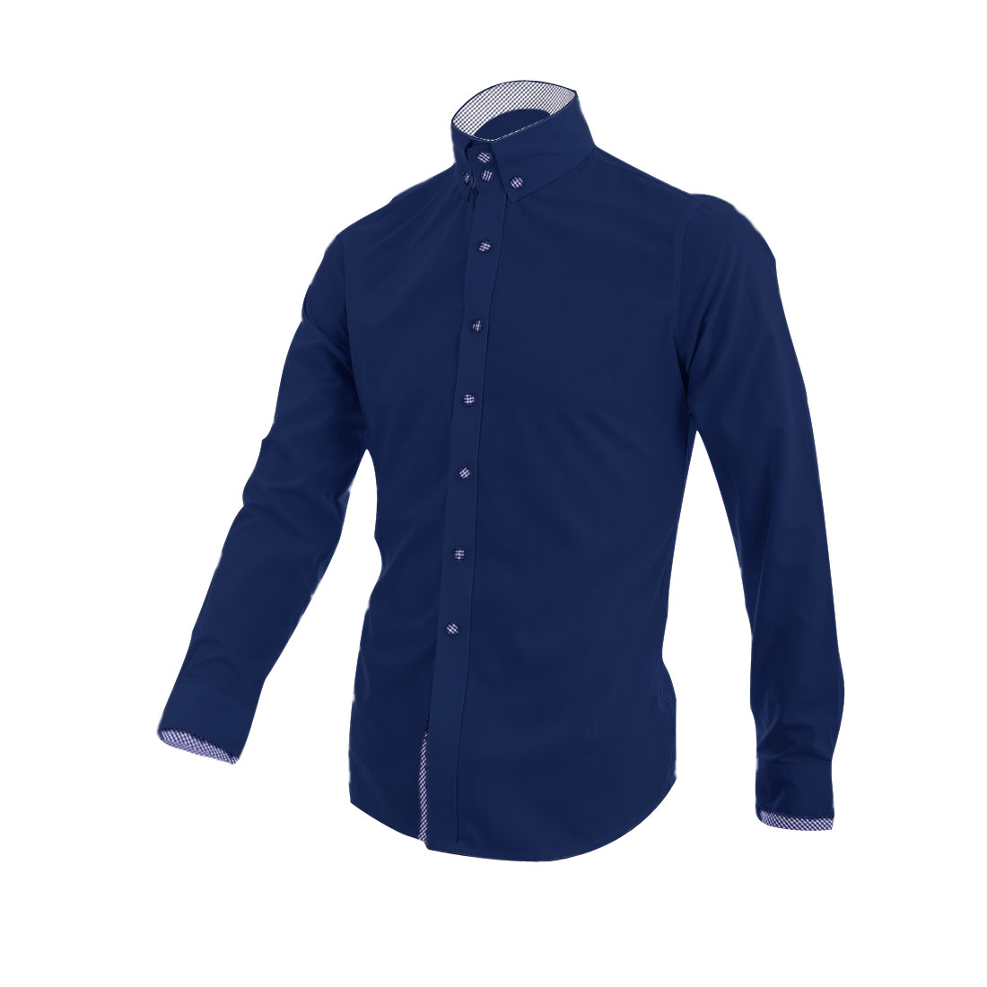 Men Point Collar Long Sleeve Autumn Shirt Navy Blue M