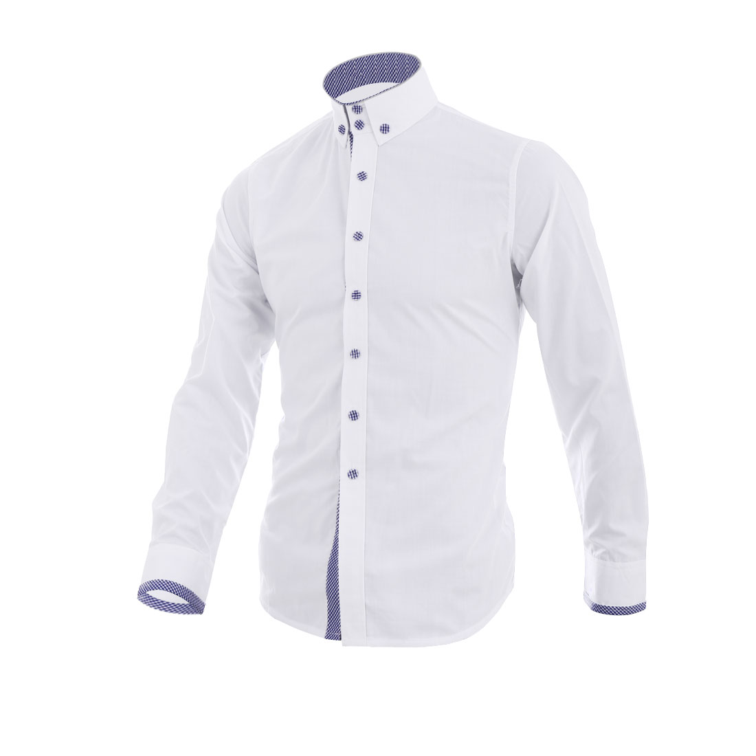 Men Point Collar Button Up Plaids Detail Shirt White M