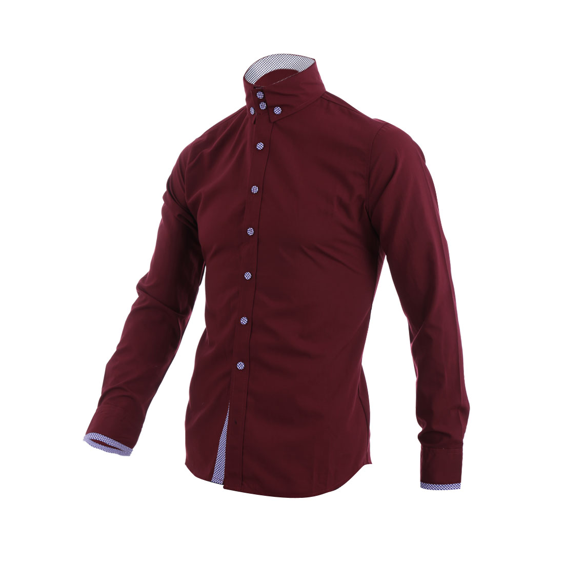 Men Single Breasted Plaids Decor Collar Shirt Burgundy M