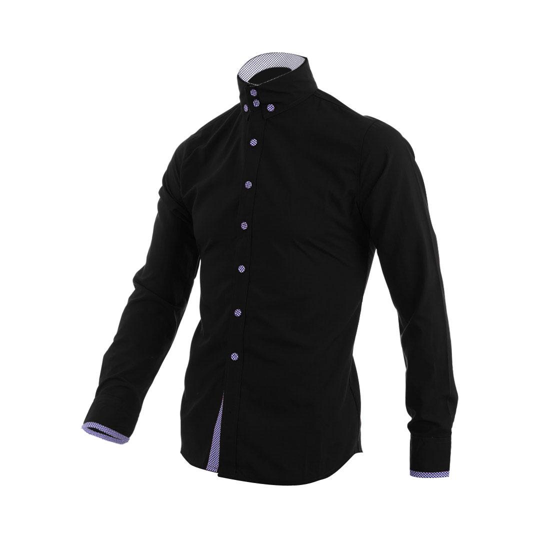 Men Button Closure Plaids Decor Cuffs Shirt Black M