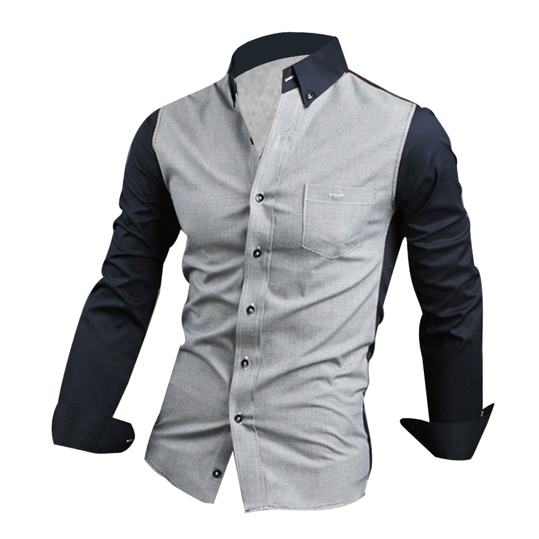 Men M Navy Blue Point Collar Long Sleeve Button Front Slim Fit Shirt