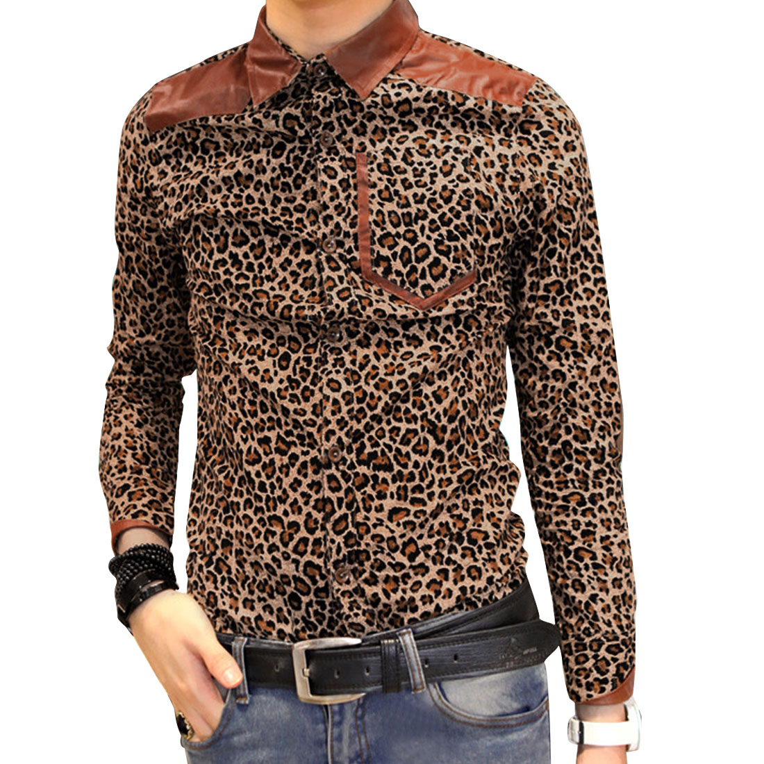 Khaki S Skinny Fit Style Leopard Print Button Up Long Sleeve Men Shirt