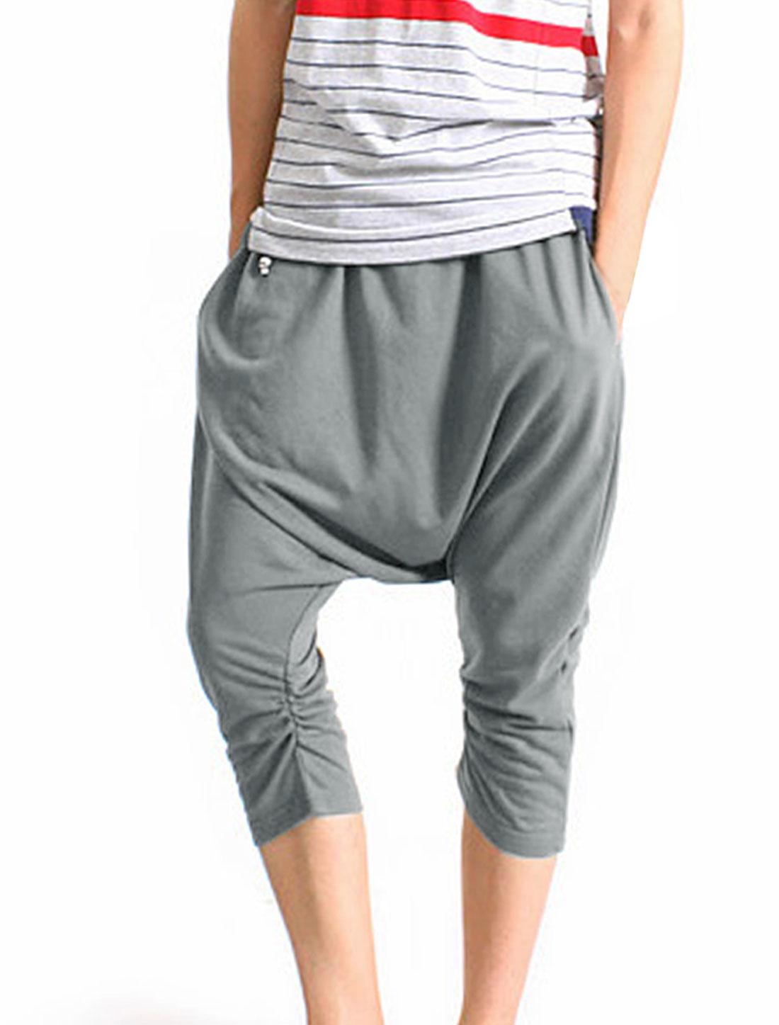 Men Ruched Detail Elastic Capris Harem Pants Gray W27
