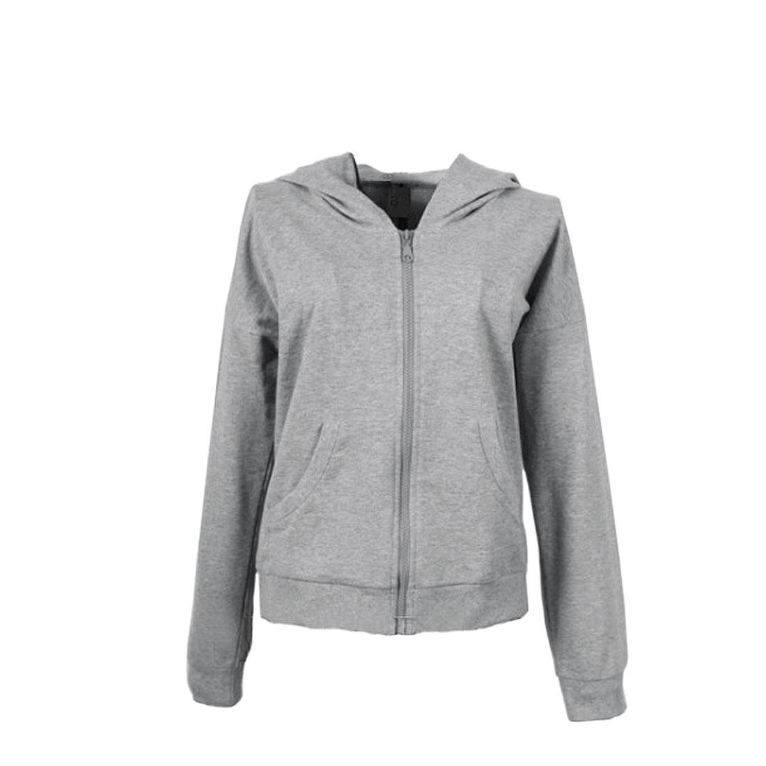 Men Light Grey M Long Sleeve Zip Closure Solid Color Wings Back Jacket