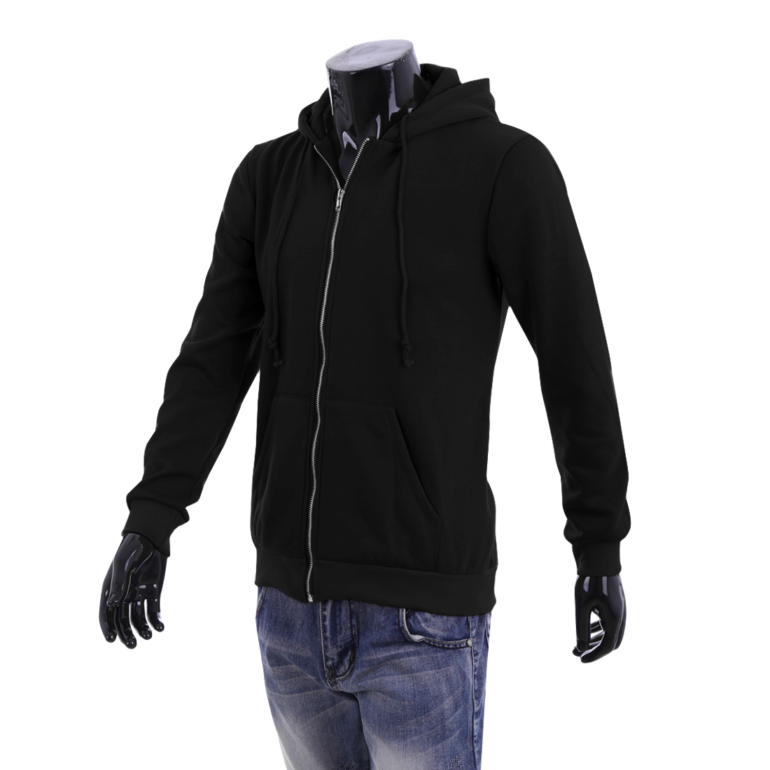 M Black Long Sleeve Fashionable Two Pockets Front Hoodie Jacket for Men