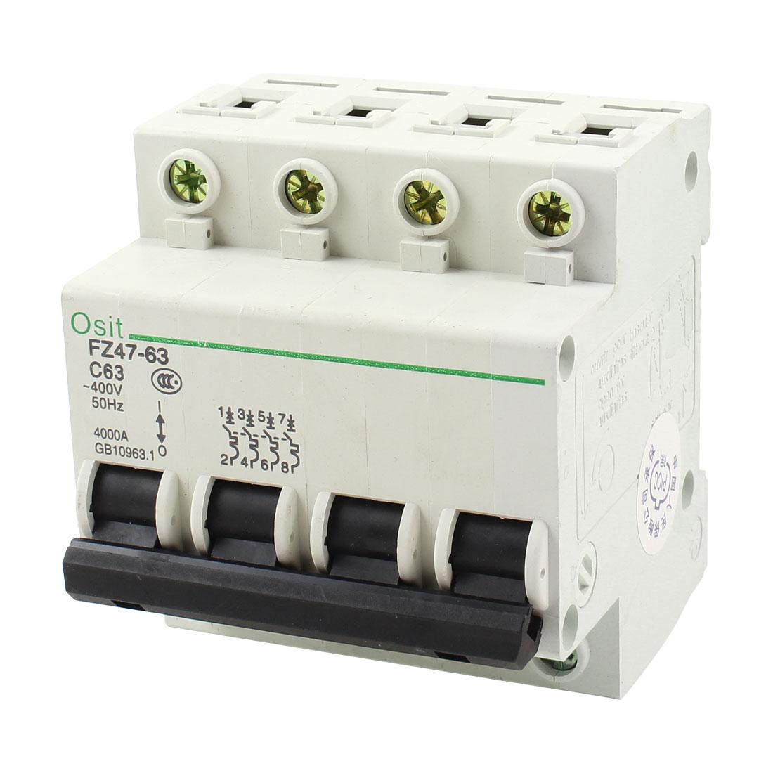 FZ47-63 C63 4P DIN Rail Mounted MCB Miniature Circuit Breaker 4000A 63A 400V AC