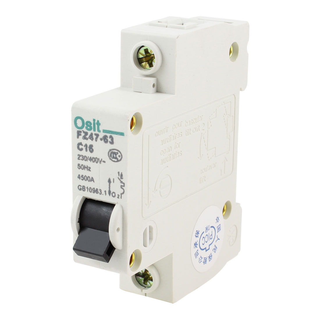 AC 230V/400V 16A Single Pole 1P Overload Protection Mini Circuit Breaker