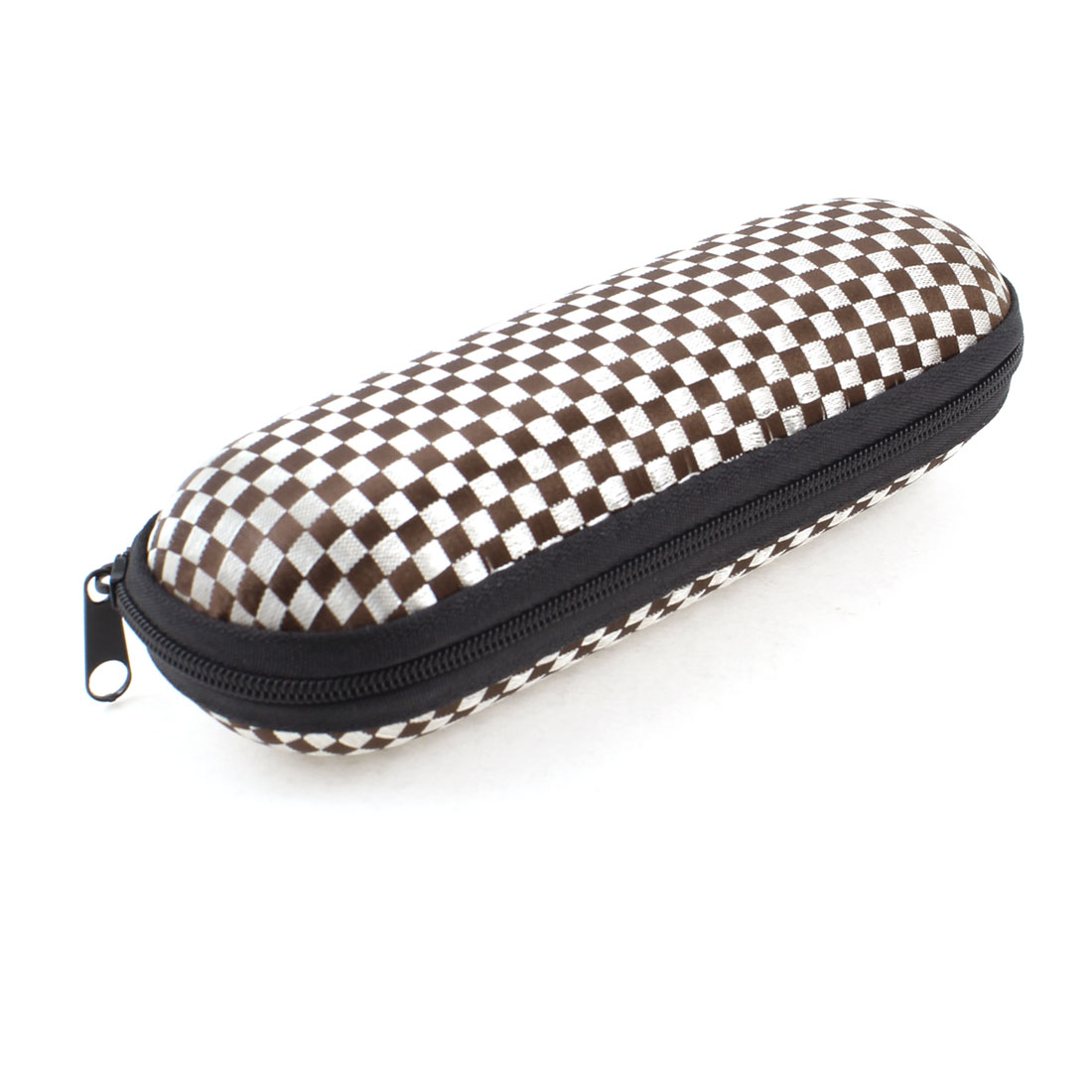 Brown White Plaid Pattern Flannel Lining Zippered Eyeglasses Box Case