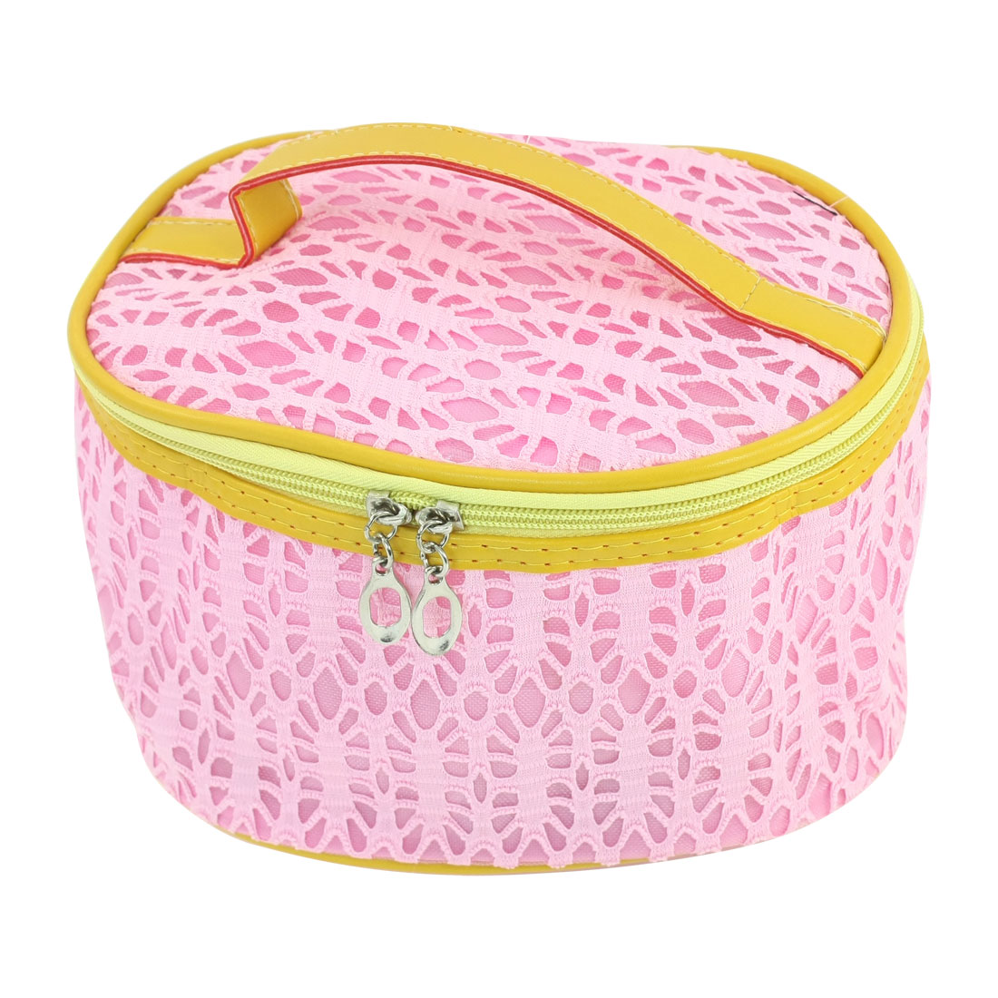 Pink Mesh Design Hollow Out Oval Shaped Zip Up Toiletry Cosmetic Bag w Mirror