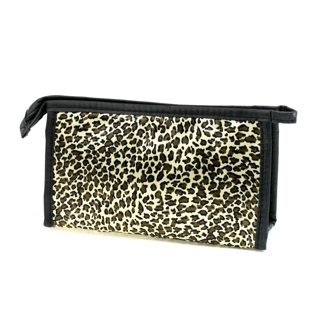 Women Zipper Closure Leopard Print Makeup Cosmetic Pouch Bag Beige Brown