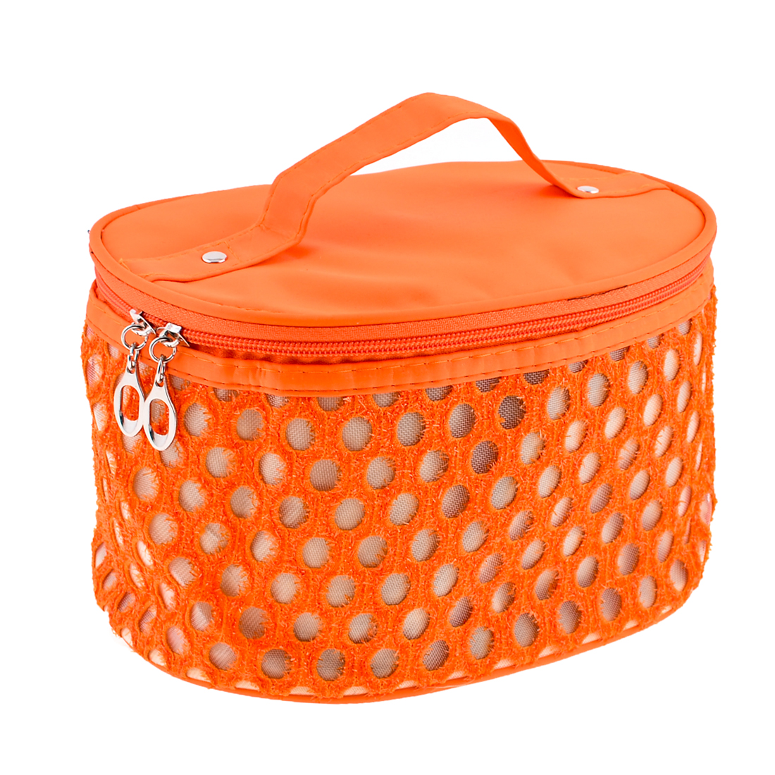 Orange Hollow Out Circle Meshy Design Cosmetic Bag w Strap for Lady