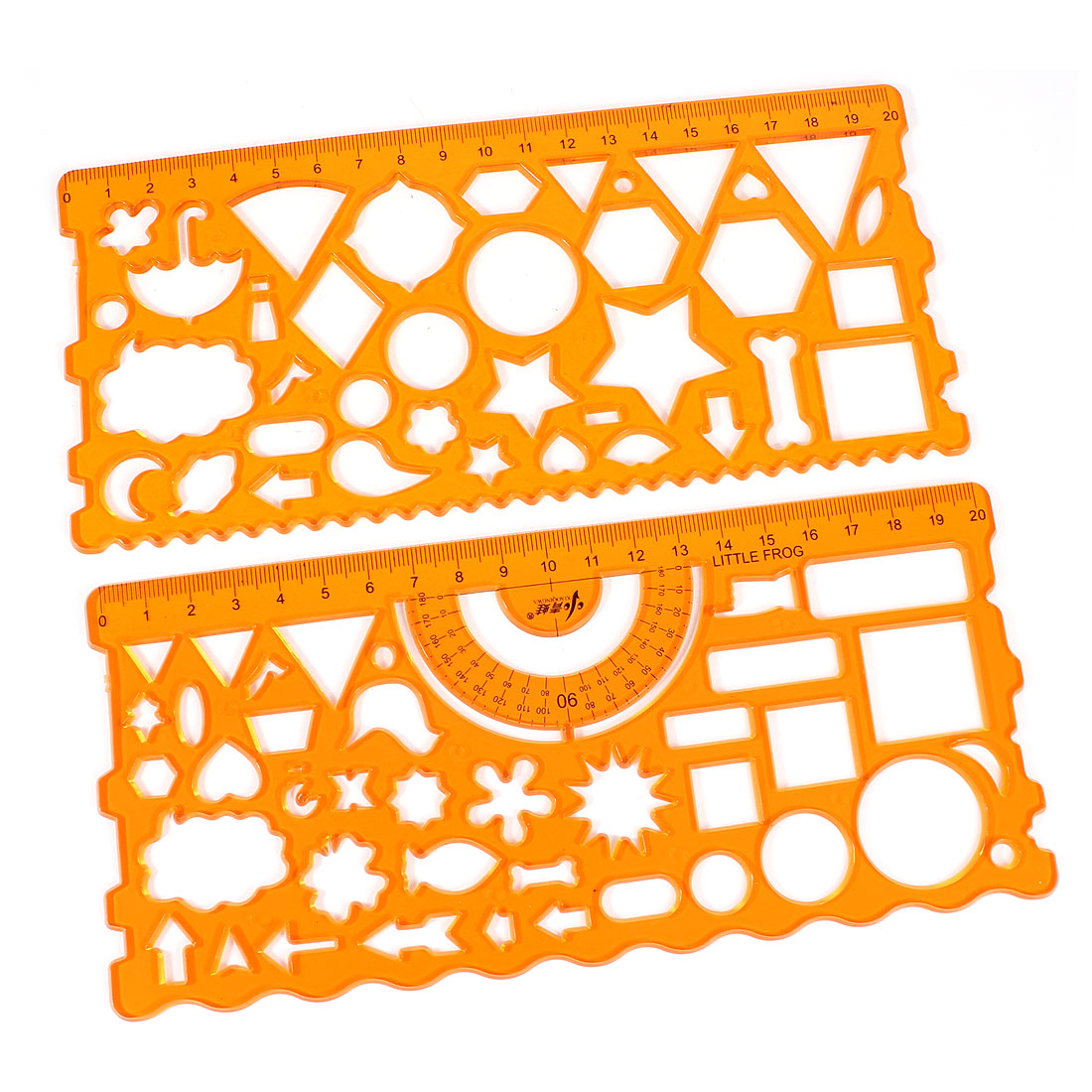 2 Pcs Student Clear Orange Various Pattern Stationery Template Drawing Rulers