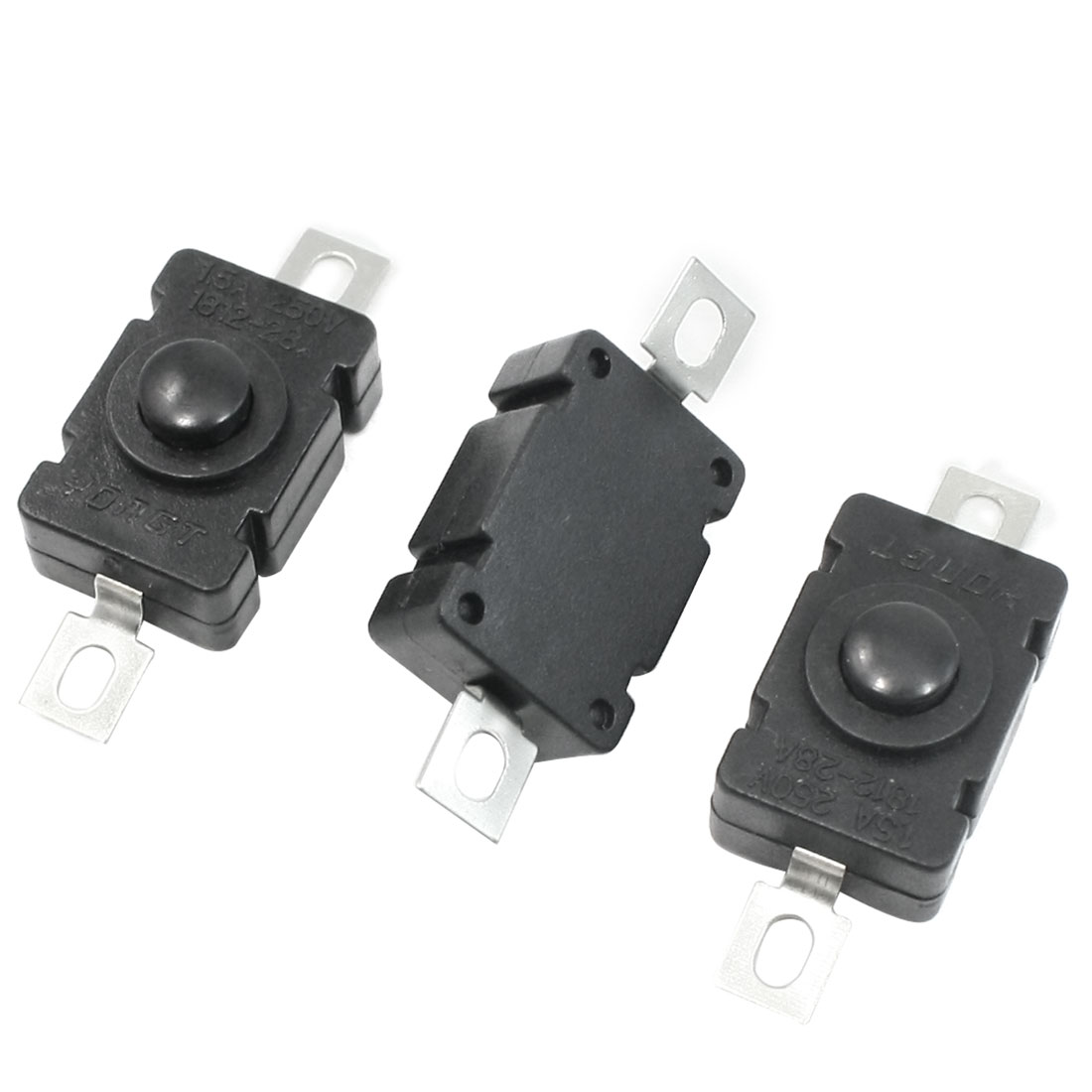 AC 250V 1.5A Horizontal Latching Flashlight Push Button Switch 3 Pcs