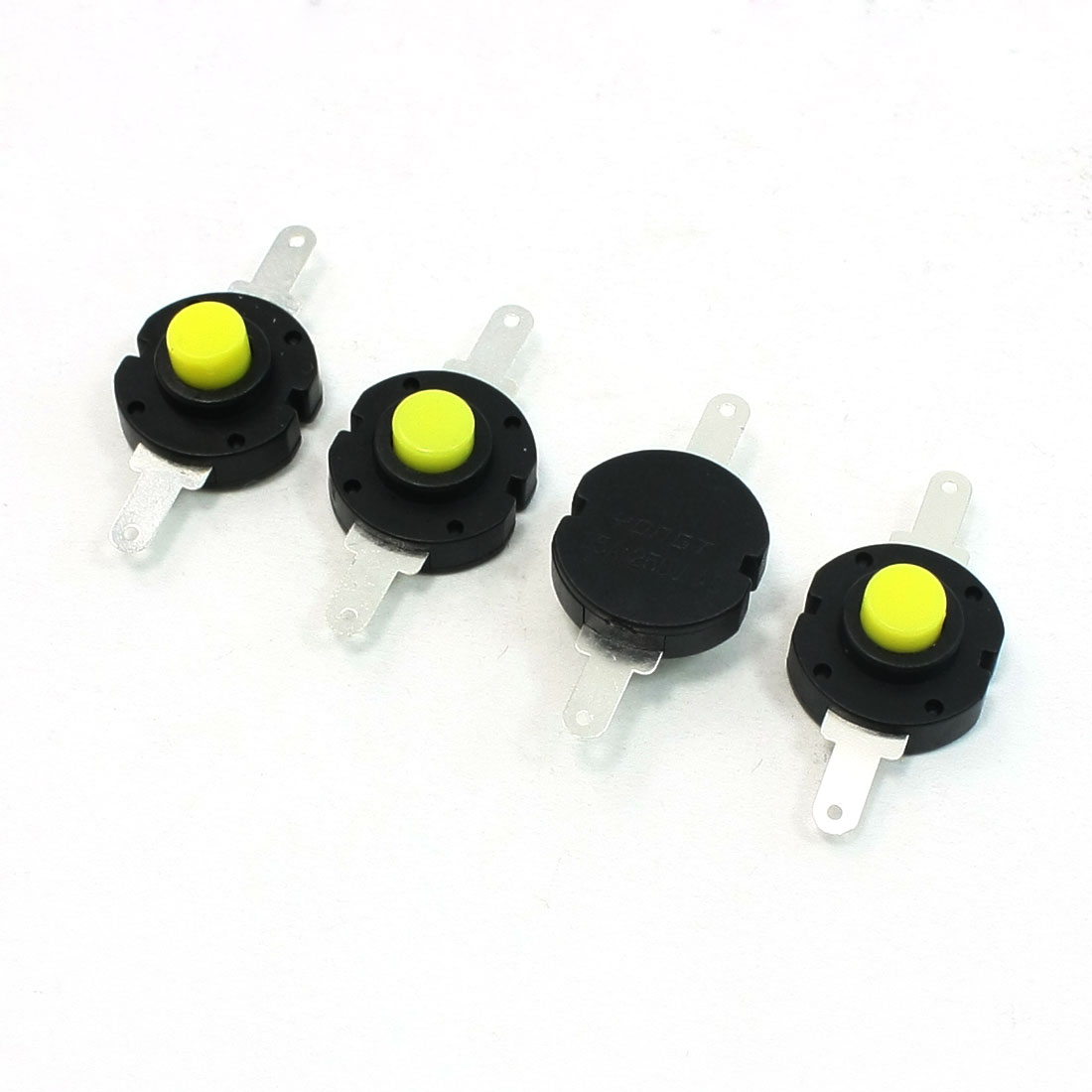 Flashlight Electric Torch 2TerminalsLatching Action Push Button Switch 4 Pcs