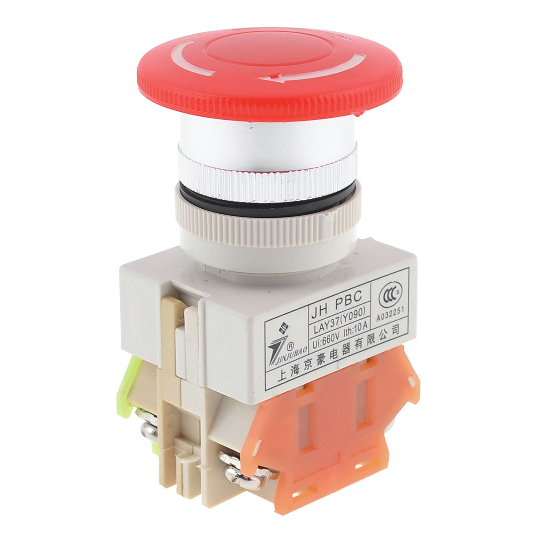Self Locking Typed Red Mushroomhead Push Button Switch Ui 660V Ith 10A