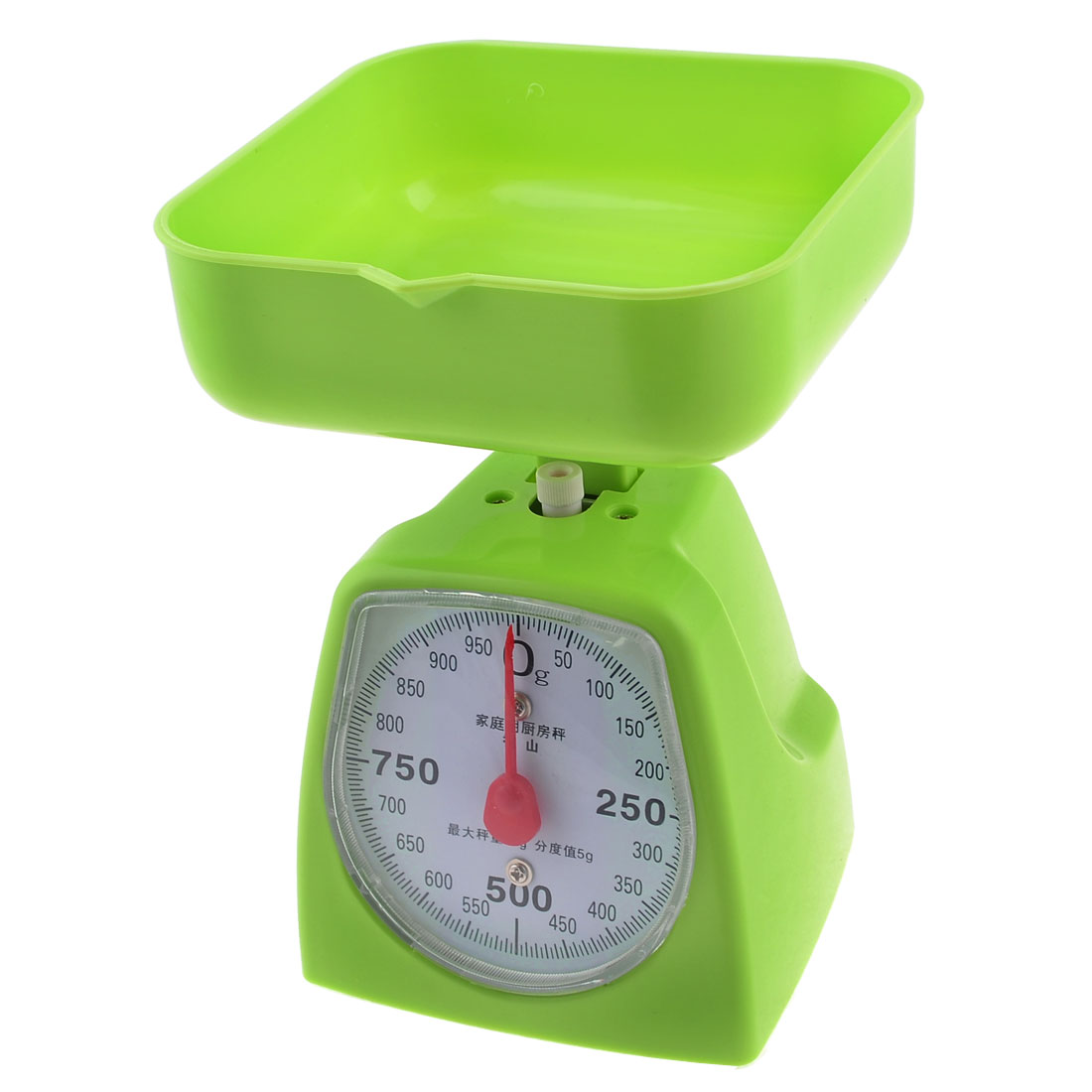Kitchen Plastic Shell Housing Mechanical Weighing Scale 0-1KG w Square Tray