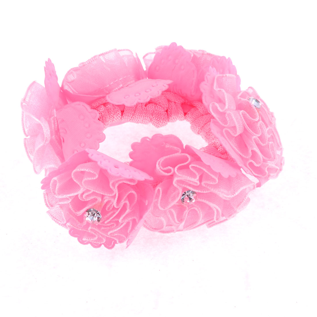 Ladies Glitter Rhinestone Flower Decoration Ponytail Holder Hair Tie